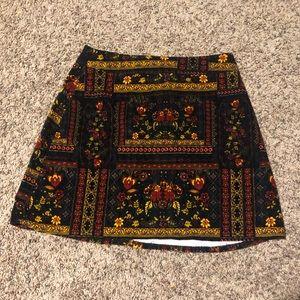Velveteen floral skirt